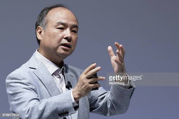 Billionaire Masayoshi Son chairman and chief executive officer of SoftBank Group Corp speaks at SoftBank World 2015 in Tokyo Japan on Thursday July...