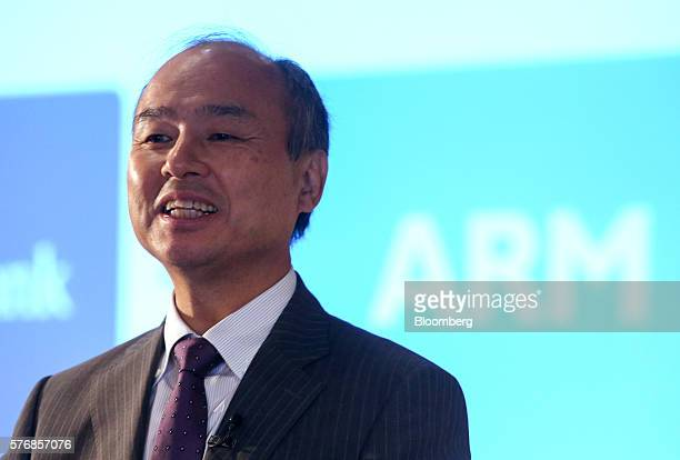 Billionaire Masayoshi Son chairman and chief executive officer of SoftBank Group Corp speaks during a news conference in London UK on Monday July 18...
