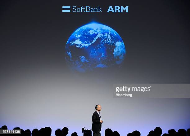 Billionaire Masayoshi Son chairman and chief executive officer of SoftBank Group Corp speaks during a lecture prior to the SoftBank World 2016...