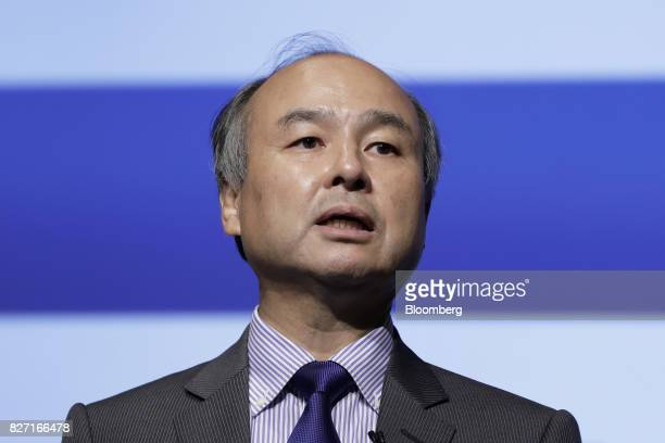 Billionaire Masayoshi Son chairman and chief executive officer of SoftBank Group Corp speaks during a news conference in Tokyo Japan on Monday Aug 7...