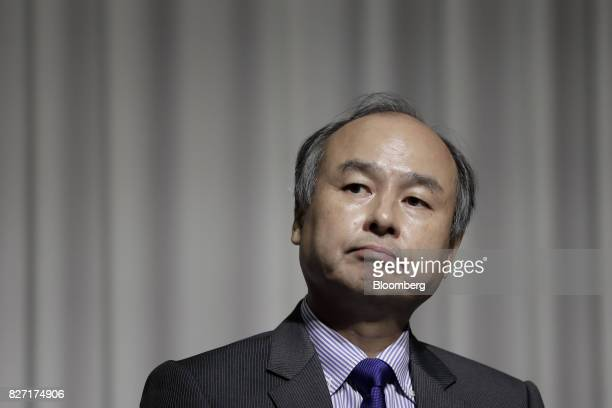 Billionaire Masayoshi Son chairman and chief executive officer of SoftBank Group Corp pauses during a news conference in Tokyo Japan on Monday Aug 7...