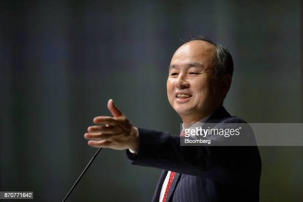 Billionaire Masayoshi Son chairman and chief executive officer of SoftBank Group Corp smiles as he speaks during a news conference in Tokyo Japan on...