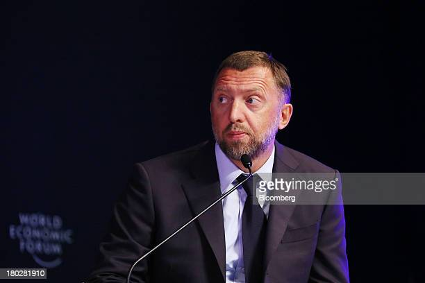 Billionaire Oleg Deripaska chief executive officer of United Co Rusal listens during the World Economic Forum Annual Meeting Of The New Champions in...