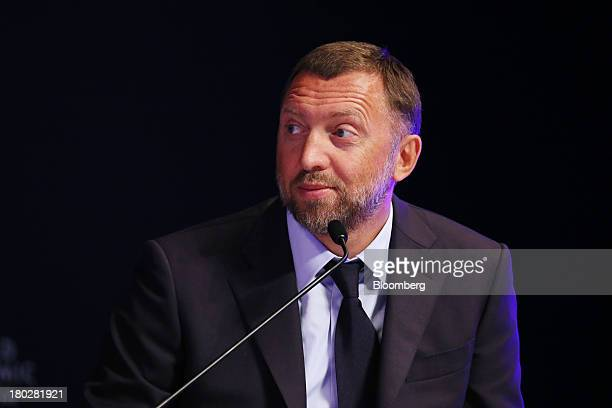 Billionaire Oleg Deripaska chief executive officer of United Co Rusal reacts during the World Economic Forum Annual Meeting Of The New Champions in...
