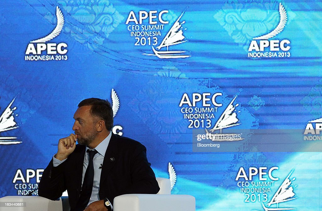 Billionaire Oleg Deripaska, chief executive officer of United Co. Rusal, attends a panel discussion at the Asia-Pacific Economic Cooperation (APEC) CEO Summit in Nusa Dua, Bali, Indonesia, on Sunday, Oct. 6, 2013. Global growth will probably be slower and less balanced than desired, ministers from the APEC member economies said as they agreed to refrain from raising new barriers to trade and investment. Photographer: SeongJoon Cho/Bloomberg via Getty Images