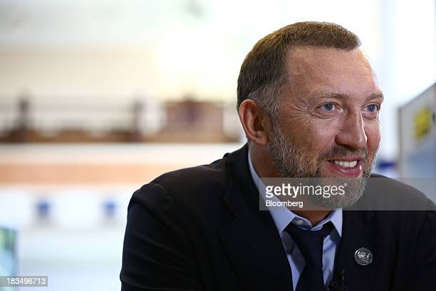 Billionaire Oleg Deripaska chief executive officer of United Co Rusal reacts during an interview at the AsiaPacific Economic Cooperation CEO Summit...