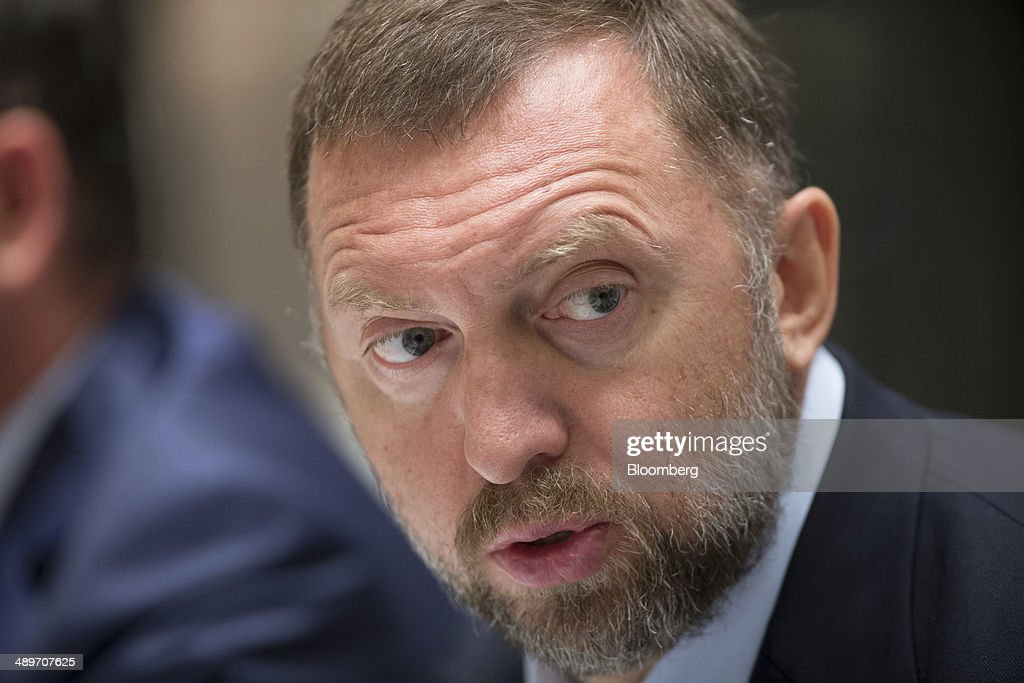 Billionaire Oleg Deripaska chief executive officer of United Co Rusal speaks during a press conference in Hong Kong China on Thursday May 8 2014...