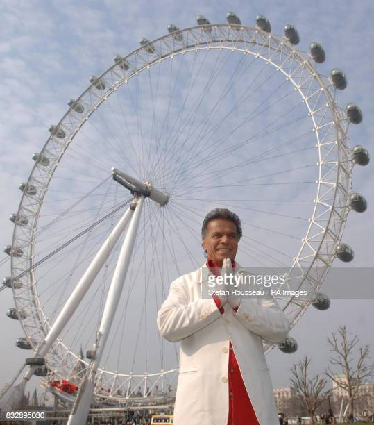 US billionaire philanthropist Fred Nassiri in front of the London Eye in central London where he was joined by hundreds of London children to film...