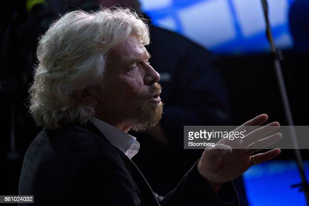 Billionaire Richard Branson founder and president of Virgin Atlantic Airways Ltd speaks during a Bloomberg Television interview at the International...