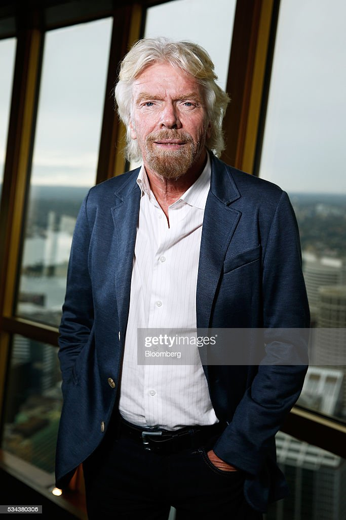 Billionaire <a gi-track='captionPersonalityLinkClicked' href=/galleries/search?phrase=Richard+Branson&family=editorial&specificpeople=220198 ng-click='$event.stopPropagation()'>Richard Branson</a>, founder of Virgin Group Ltd., poses for a photograph following a Bloomberg Television interview in Sydney, Australia, on Thursday, May 26, 2016. Air New Zealand Ltd.'s stake in Virgin Australia Holdings Ltd. has attracted several potential buyers and talks are under way about a possible deal, said Branson. Photographer: Brendon Thorne/Bloomberg via Getty Images
