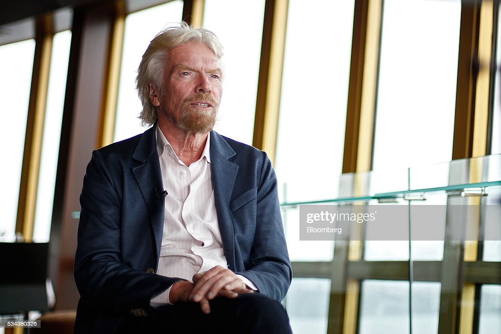 Billionaire <a gi-track='captionPersonalityLinkClicked' href=/galleries/search?phrase=Richard+Branson&family=editorial&specificpeople=220198 ng-click='$event.stopPropagation()'>Richard Branson</a>, founder of Virgin Group Ltd., sits ahead of a Bloomberg Television interview in Sydney, Australia, on Thursday, May 26, 2016. Air New Zealand Ltd.'s stake in Virgin Australia Holdings Ltd. has attracted several potential buyers and talks are under way about a possible deal, said Branson. Photographer: Brendon Thorne/Bloomberg via Getty Images