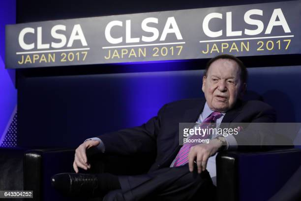 Billionaire Sheldon Adelson chairman and chief executive officer of Las Vegas Sands Corp speaks during a keynote presentation session at the 14th...