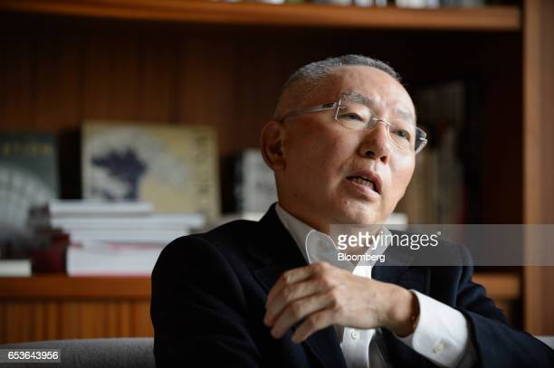 Billionaire Tadashi Yanai chairman and chief executive officer of Fast Retailing Co speaks during an interview in Tokyo Japan on Friday March 10 2017...