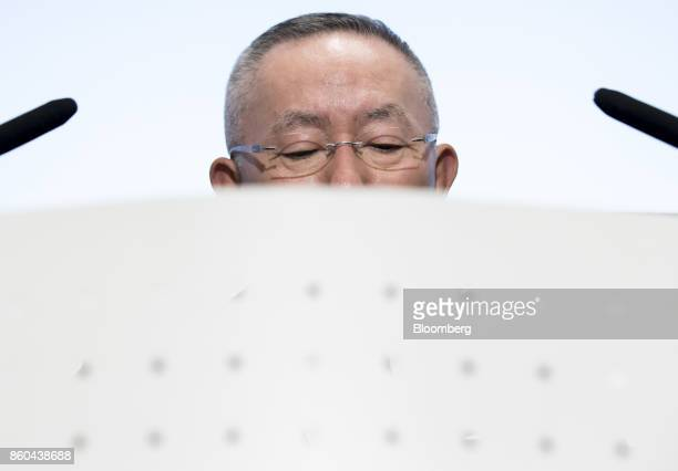 Billionaire Tadashi Yanai chairman and chief executive officer of Fast Retailing Co attends a news conference at the Tokyo Stock Exchange in Tokyo...