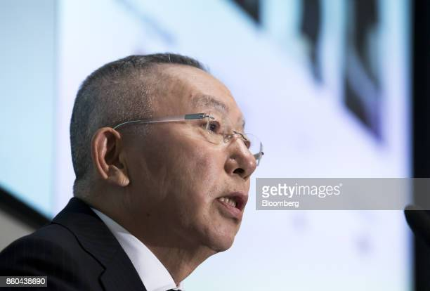 Billionaire Tadashi Yanai chairman and chief executive officer of Fast Retailing Co speaks during a news conference at the Tokyo Stock Exchange in...