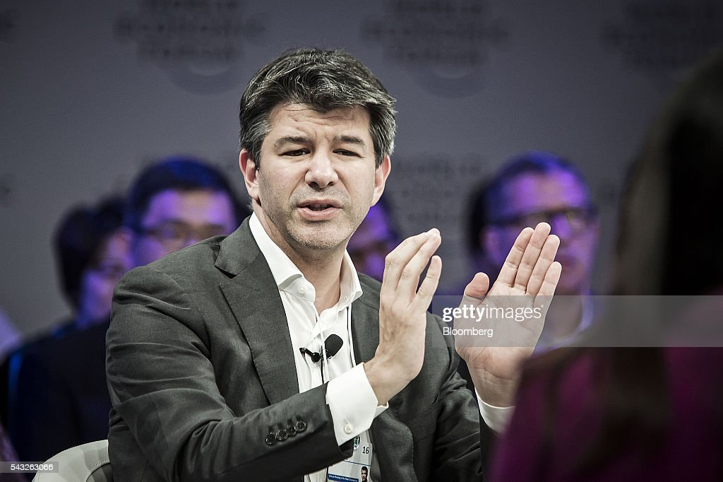 Billionaire <a gi-track='captionPersonalityLinkClicked' href=/galleries/search?phrase=Travis+Kalanick&family=editorial&specificpeople=7808244 ng-click='$event.stopPropagation()'>Travis Kalanick</a>, chief executive officer of Uber Technologies Inc., speaks during a session at the World Economic Forum (WEF) Annual Meeting of the New Champions in Tianjin, China, on Monday, June 27, 2016. The meeting runs through June 28. Photographer: Qilai Shen/Bloomberg via Getty Images