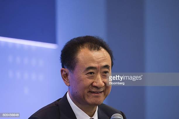 Billionaire Wang Jianlin chairman and president of Dalian Wanda Group Co speaks during the Hong Kong Asian Financial Forum in Hong Kong China on...