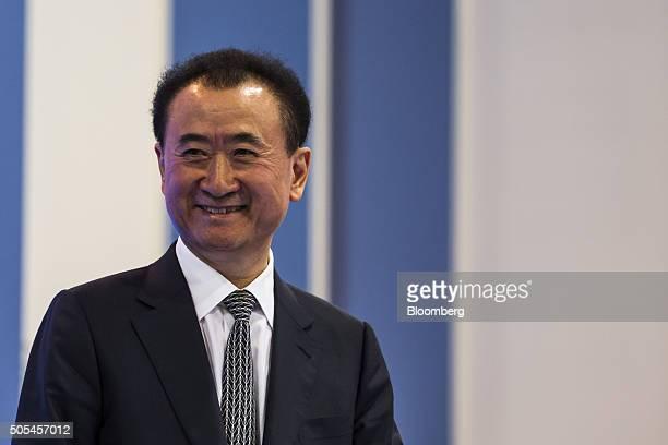Billionaire Wang Jianlin chairman and president of Dalian Wanda Group Co attends the Hong Kong Asian Financial Forum in Hong Kong China on Monday Jan...