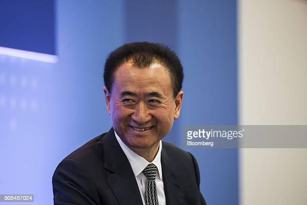 Billionaire Wang Jianlin chairman and president of Dalian Wanda Group Co reacts during the Hong Kong Asian Financial Forum in Hong Kong China on...