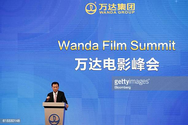 Billionaire Wang Jianlin chairman and president of Dalian Wanda Group Co speaks during an event in Los Angeles California US on Monday Oct 17 2016...