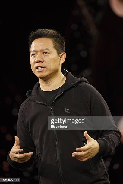 Billioniare Jia Yueting founder and chief executive officer of LeEco Inc a major investor in Faraday Future speaks at the unveiling of the FF91...
