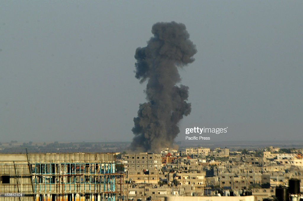 A billowing smoke rises into the sky at Rafah, in the Southern Gaza strip. According to witnesses, Israeli resumed to launch air strikes in the Gaza Strip again.