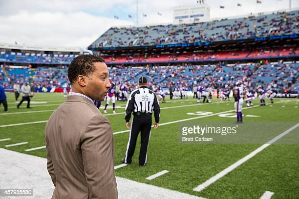 Bills General Manager Doug Whaley stands on the sideline during warmups before the game against the Minnesota Vikings at Ralph Wilson Stadium on...