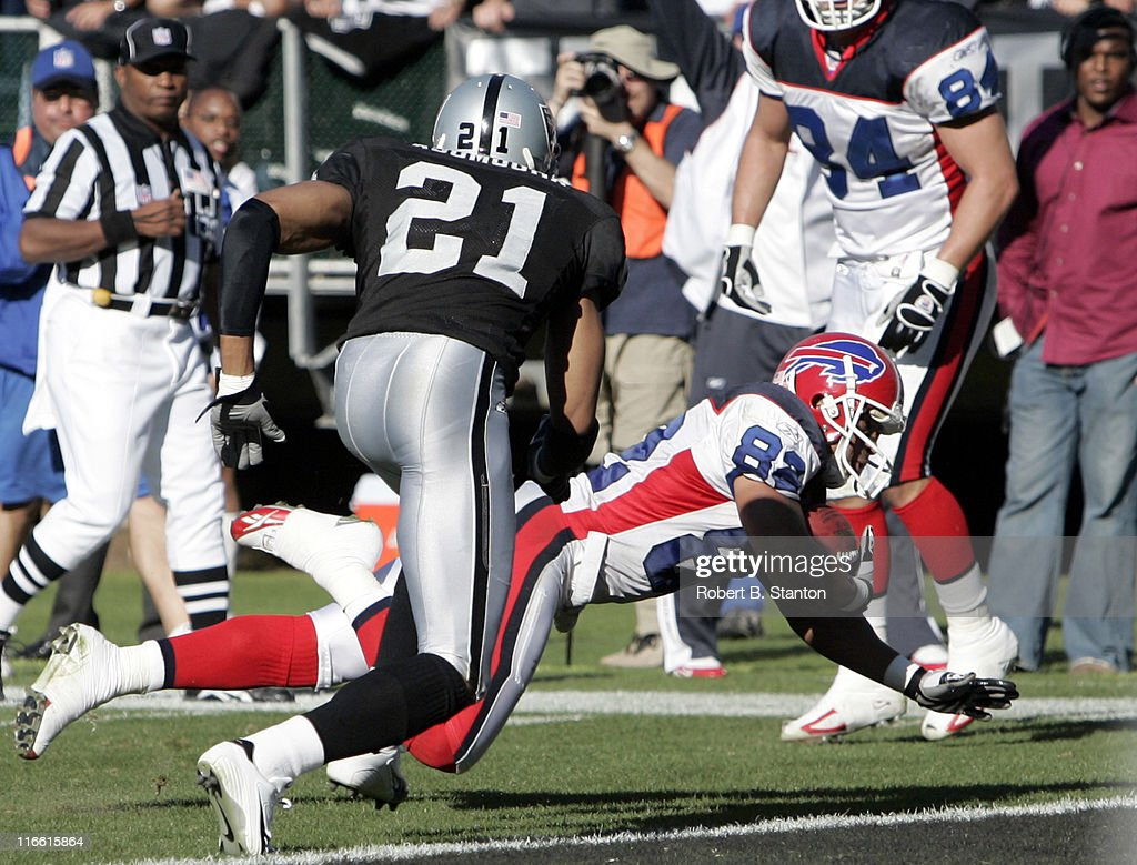 Bills receiver Josh Reed scores a touchdown in the first half as the Oakland Raiders defeated the Buffalo Bills by a score of 38 to 17 at McAfee...