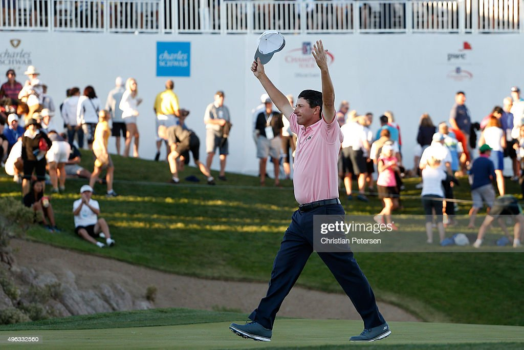 Billy Andrade celebrates after defeating Bernhard Langer on the first playoff hole to win the Charles Schwab Cup Championship on the Cochise Course...