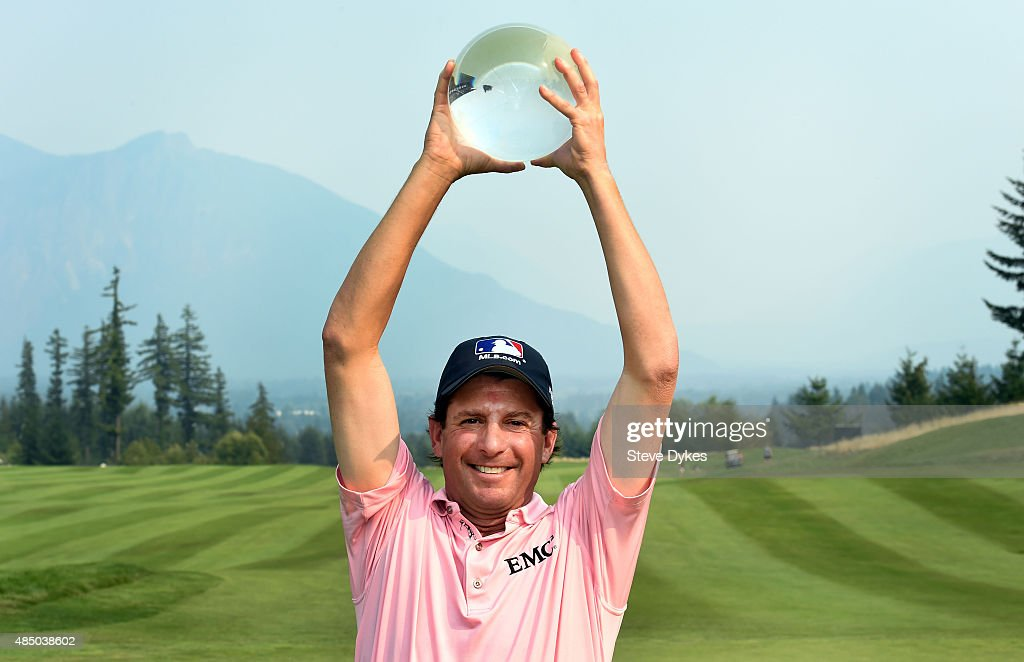 Billy Andrade poses with the trophy after winning the Boeing Classic on August 23 2015 in Snoqualmie Washington