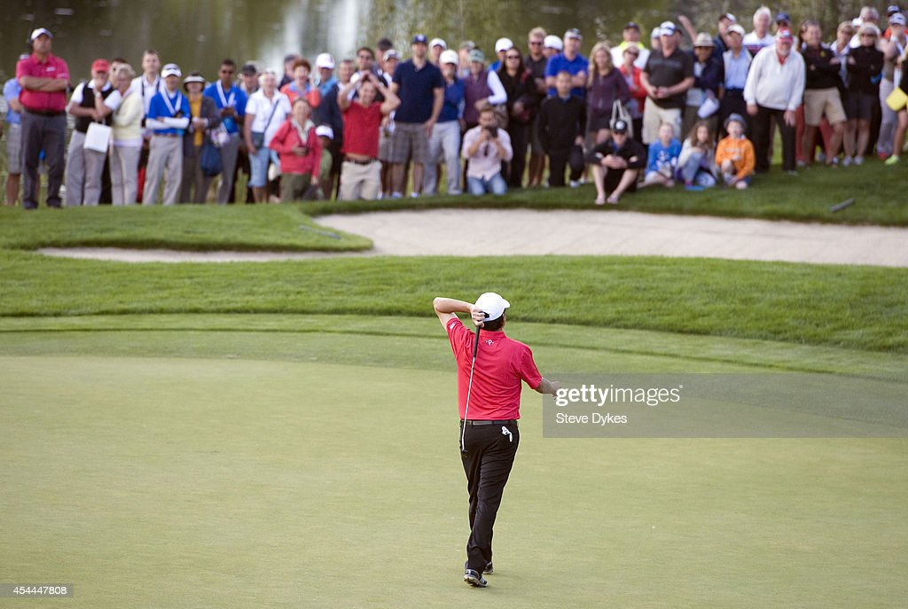 <a gi-track='captionPersonalityLinkClicked' href=/galleries/search?phrase=Billy+Andrade&family=editorial&specificpeople=504654 ng-click='$event.stopPropagation()'>Billy Andrade</a> reacts after missing his birdie putt attempt on the 18th green in an effort to tie gain a tie and force another hole in his playoff with Fred Couples after the final round of the Shaw Charity Classic at the Canyon Meadows Golf & Country Club on August 31, 2014 in Calgary, Canada.