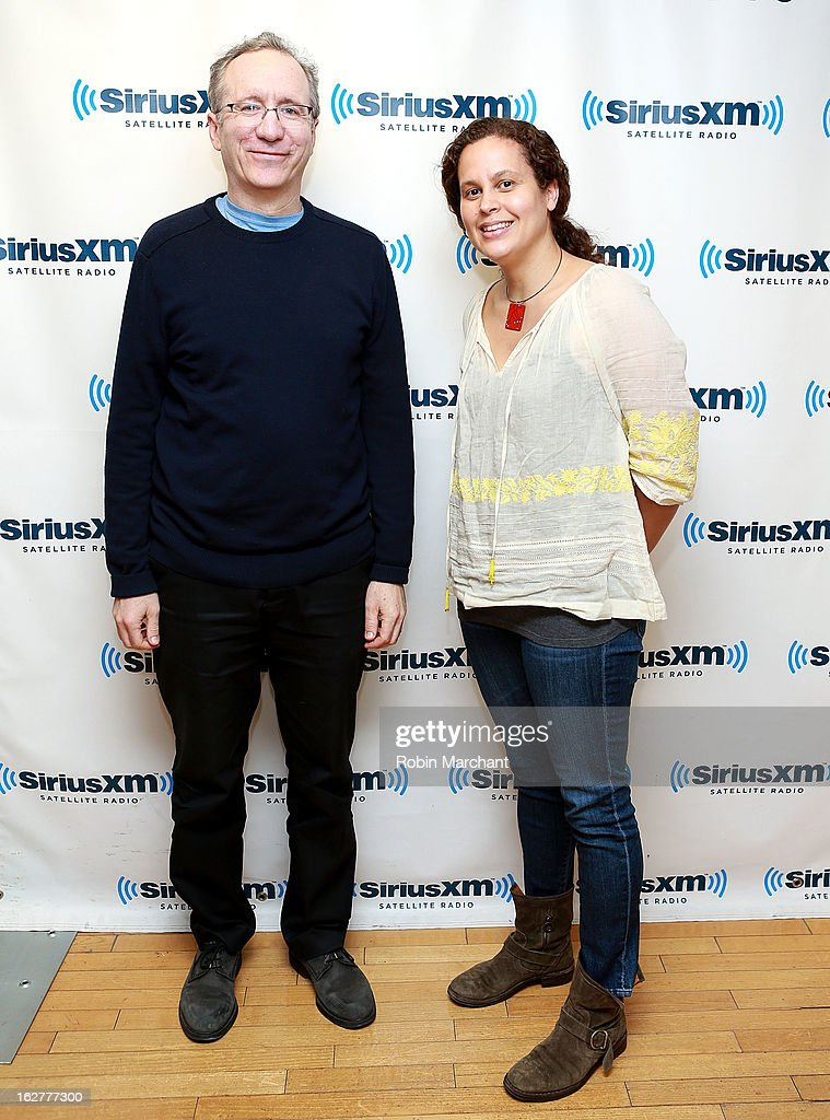 Billy Aronson (L) and Jennifer Oxley visit at SiriusXM Studios on February 26, 2013 in New York City.