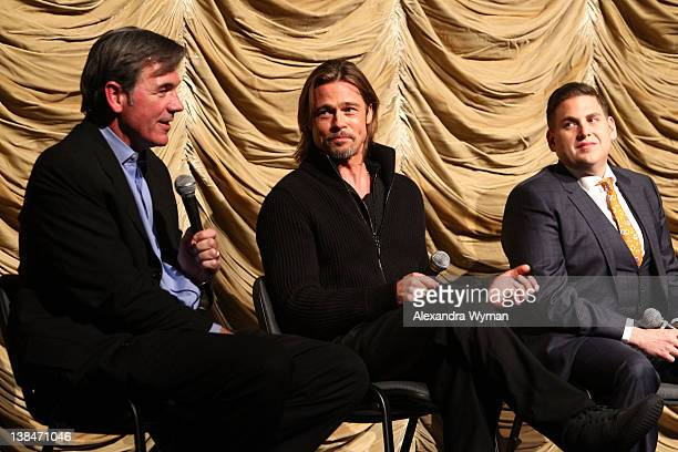 Billy Beane Brad Pitt and Jonah Hill attend Film Independent's screening of 'Moneyball' held at Bing Theatre At LACMA on February 6 2012 in Los...