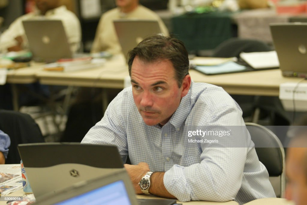 Billy Beane, General Manager of the Oakland Athletics, during the 2005 First-Year Player Draft at McAfee Coliseum on June 4, 2005 in Oakland, California.
