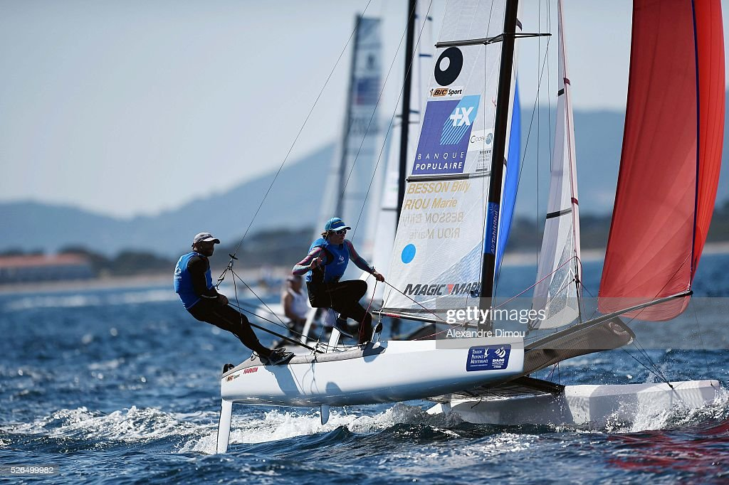 Billy Besson and Marie Riou of France compete in the Nacra 17 race boat during the Sailing World Cup on April 30, 2016 in Hyeres, France.
