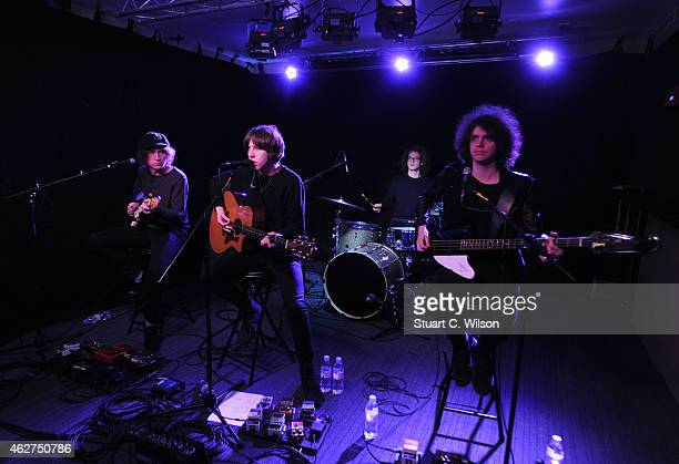 Billy Bibby Van McCann Bob Hall and Benji Blakeway of Catfish And The Bottlemen perform during an Absolute Radio Session at Absolute Radio on...