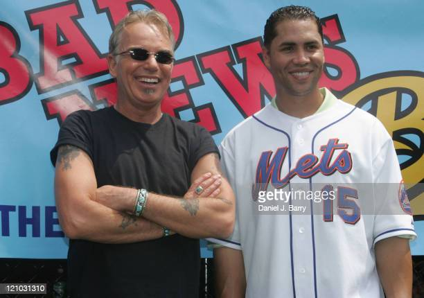 Billy Bob Thornton and Carlos Beltran during Billy Bob Thornton with the Bad News Bears at Harlem RBI Field July 19 2005 at Harlem RBI Field in New...