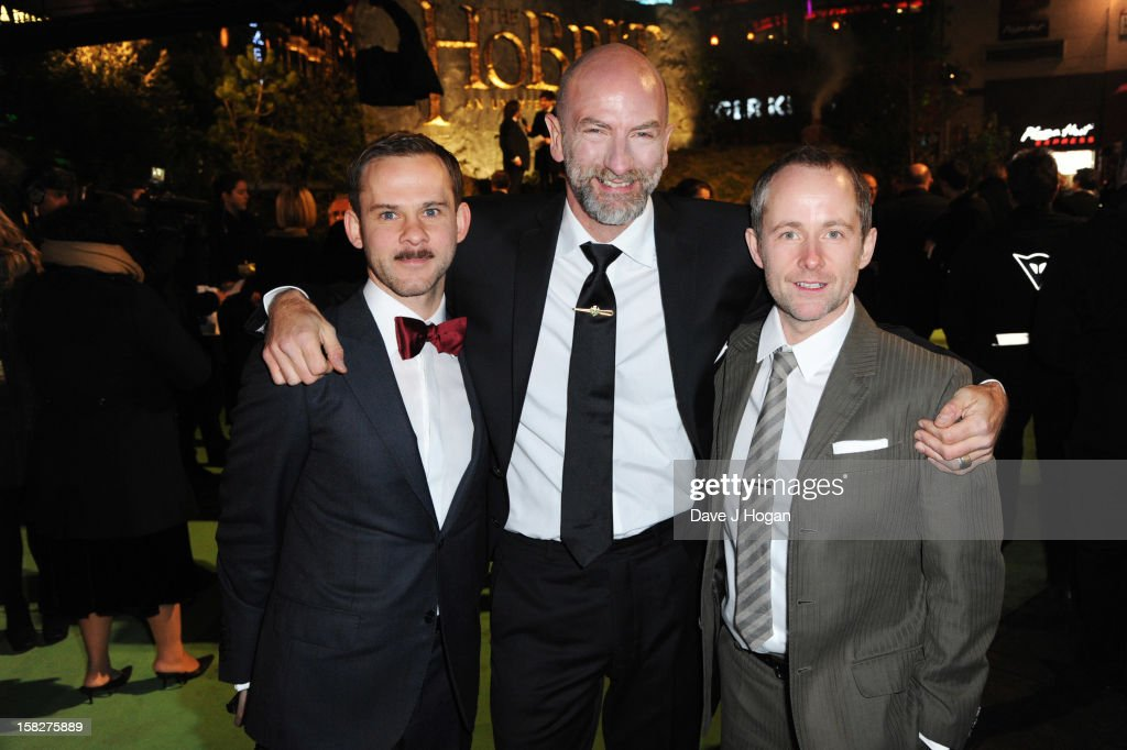 Billy Boyd, Graham McTavish and Domonic Monaghan attend a royal film performance of 'The Hobbit: An Unexpected Journey' at The Empire Leicester Square on December 12, 2012 in London, England.
