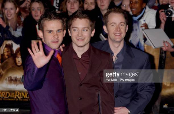 Billy Boyd who plays 'Pippin' Elijah Wood who plays 'Frodo' and Dominic Monaghan who plays 'Merry' arriving at the Odeon Leicester Square in London...