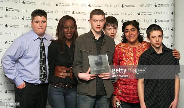 Billy Bradshaw Derek Mackie Murray Davies and Chris Bill who Best Screenplay with presenters Amma Asante and Gurinder Chadha