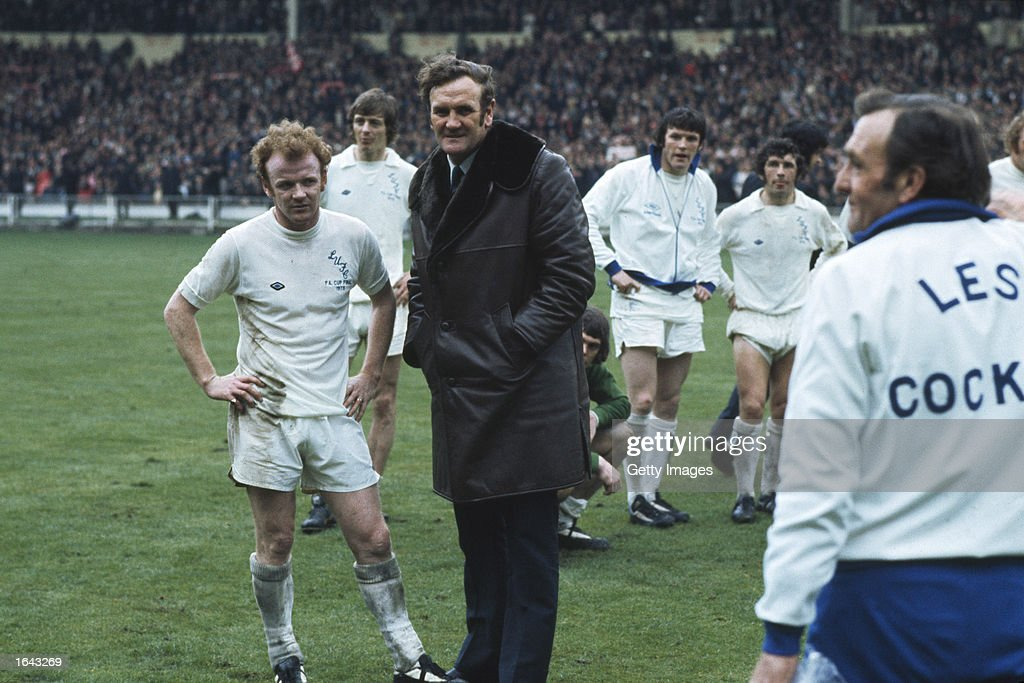 Billy Bremner (left) and Leeds Manager Don Revie (right) chat before the FA Cup final against Sunderland at Wembley Stadium in London. Sunderland won the match 1-0.