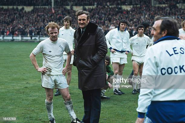 Billy Bremner and Leeds Manager Don Revie chat before the FA Cup final against Sunderland at Wembley Stadium in London Sunderland won the match 10