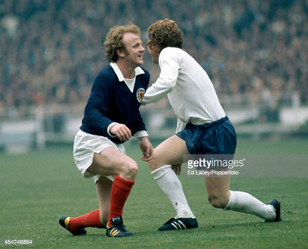 Billy Bremner of Scotland and Alan Ball of England in action during their international football match at Wembley Stadium in London on 19th May 1973...