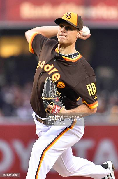Billy Buckner of the San Diego Padres pitches during the first inning of a baseball game against the Chicago Cubs at Petco Park May 24 2014 in San...