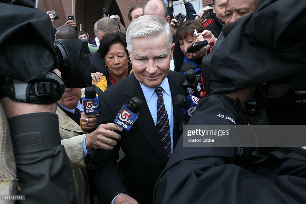 Billy Bulger mobbed by the press leaves the courthouse where his brother James 'Whitey' Bulger and girlfriend Catherine Greig were arraigned at the...