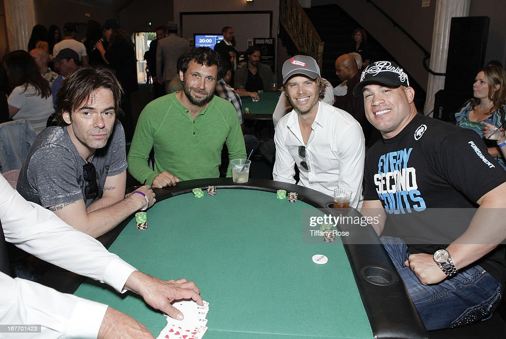 Billy Burke, Jeremy Sisto, Eric Olsen and Tito Ortiz attend Los Angeles Police Memorial Foundation's Celebrity Poker Tournament at Saban Theatre on April 27, 2013 in Beverly Hills, California.