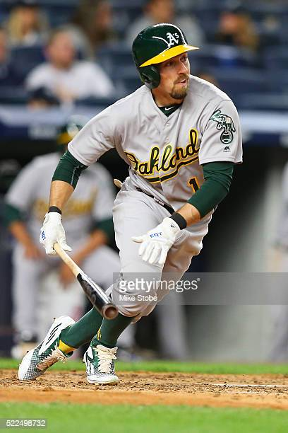 Billy Burns of the Oakland Athletics triples in the fifth inning against the New York Yankees at Yankee Stadium on April 19 2016 in the Bronx borough...