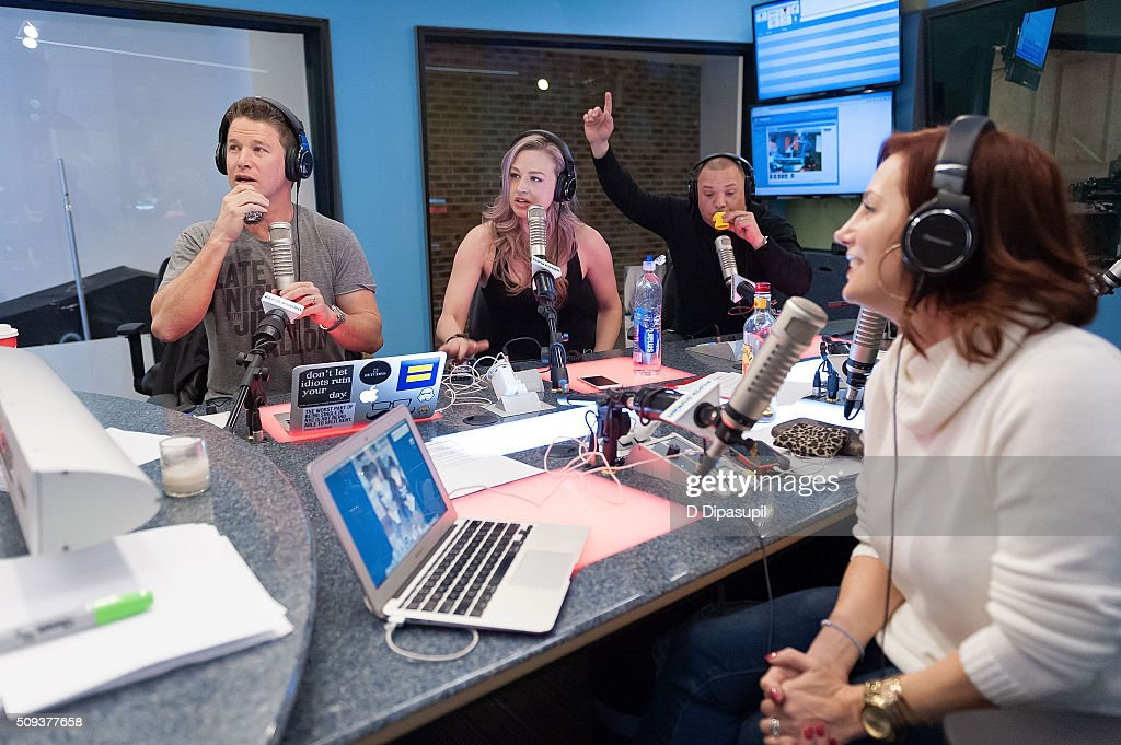<a gi-track='captionPersonalityLinkClicked' href=/galleries/search?phrase=Billy+Bush&family=editorial&specificpeople=742677 ng-click='$event.stopPropagation()'>Billy Bush</a>, Bethany Watson, Greg T, and Danielle Monaro at 'The Elvis Duran Z100 Morning Show' at Z100 Studio on February 10, 2016 in New York City.