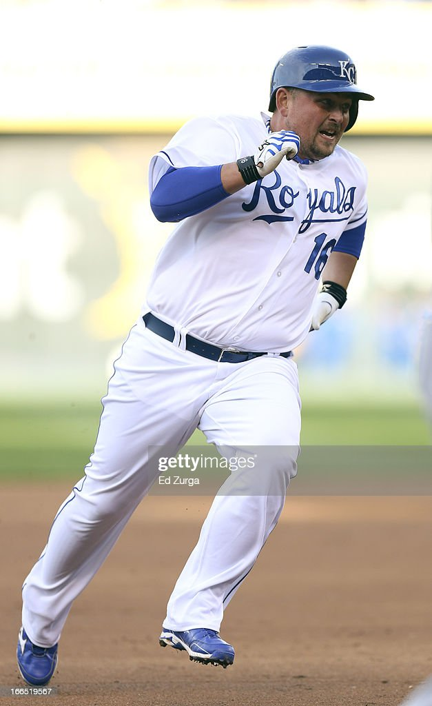 <a gi-track='captionPersonalityLinkClicked' href=/galleries/search?phrase=Billy+Butler&family=editorial&specificpeople=759092 ng-click='$event.stopPropagation()'>Billy Butler</a> #16 of the Kansas City Royals advances to third on a Salvador Perez double during a game against the Toronto Blue Jays in the first inning at Kauffman Stadium April 13, 2013 in Kansas City, Missouri.