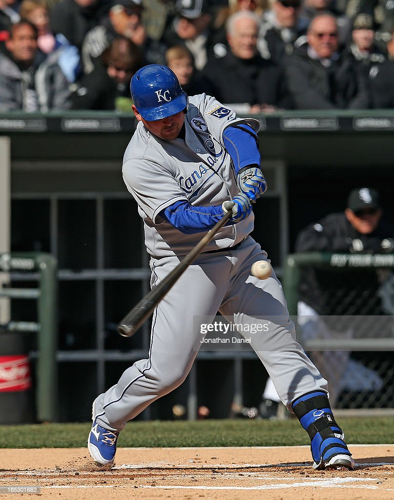 Billy Butler #16 of the Kansas City Royals bats against the Chicago White Sox during the Opening Day game at U.S. Cellular Field on April 1, 2013 in Chicago, Illinois. The White Sox defeated the Royals 1-0.